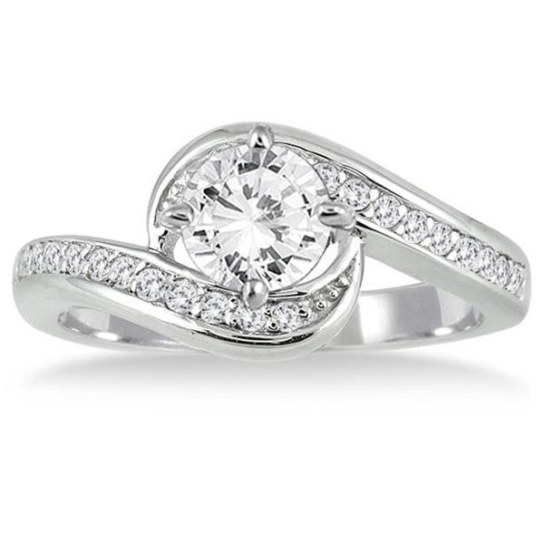1 12 Carat Diamond Bridal Ring Set in 14K White Gold