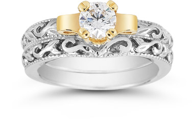 Art Deco 1 Carat CZ Bridal Set, 14K Two-Tone Gold