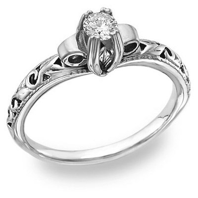 1/4 Carat Art Deco Diamond Ring, 14K White Gold