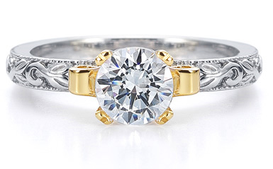 Art Deco Moissanite Ring in 14K Two-Tone Gold