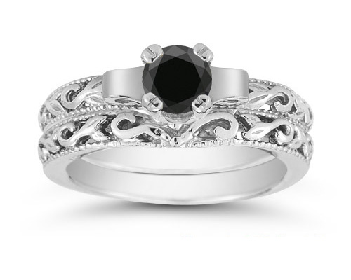 1/4 Carat Art Deco Black Diamond Bridal Set