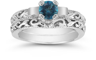 Blue Diamond 1 Carat Art Deco Bridal Set