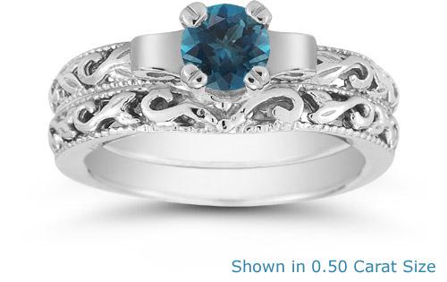 blue diamond 12 carat art deco bridal set - Blue Diamond Wedding Ring Sets