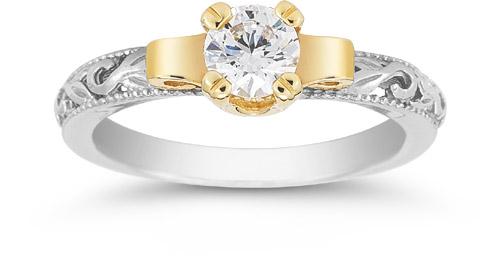 Art Deco 12 Carat Bridal Set 14K TwoTone Gold