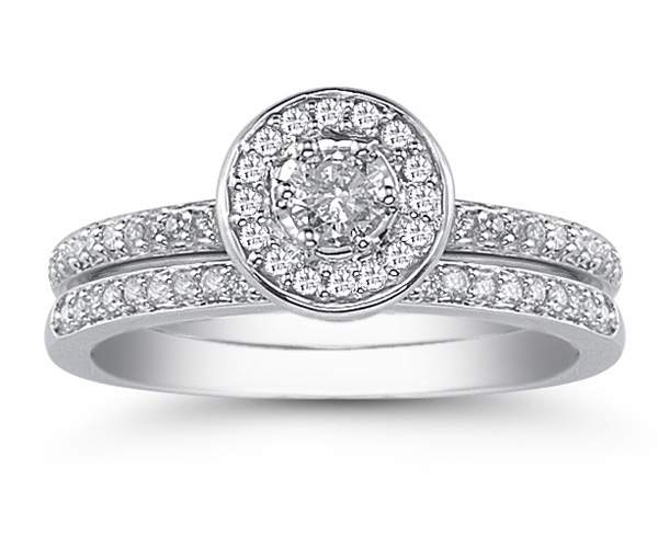 1.00 Carat Diamond Wedding Ring Set