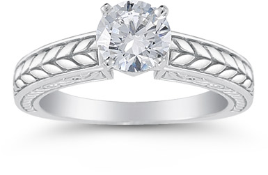 Carved Leaf 0.75 Carat Diamond Engagement Ring