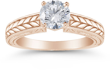 Carved Leaf 0.75 Carat Diamond Engagement Ring in 14K Rose Gold