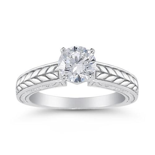 Carved Leaf 0.75 Carat Diamond Engagement Ring