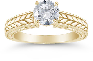 Carved Leaf 0.75 Carat Diamond Engagement Ring in 14K Yellow Gold