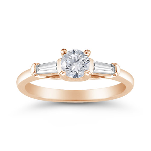 14K Rose Gold Round and Baguette Diamond 3 Stone Engagement Ring