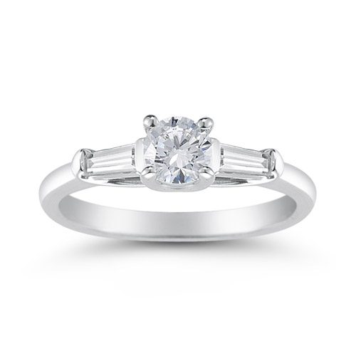 14K White Gold Round and Baguette Diamond 3 Stone Engagement Ring