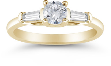 14K Yellow Gold Round and Baguette Diamond 3 Stone Engagement Ring