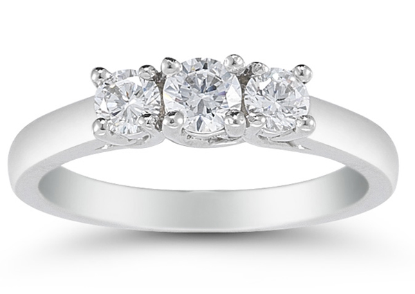 1/2 Carat Three Stone Diamond Ring, 14K White Gold