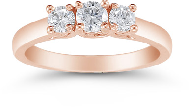 14K Rose Gold 1/2 Carat Three Stone Diamond Ring