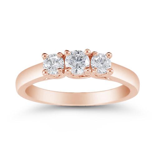 14K Rose Gold 1/2 Carat Three Stone Diamond Ring