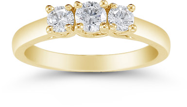 1/2 Carat Three Stone Diamond Ring, 14K Yellow Gold