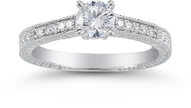1930s Jewelry Styles and Trends Vintage Floral 0.33 Carat Diamond Engagement Ring $975.00 AT vintagedancer.com