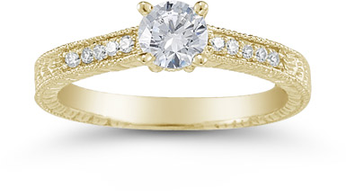 Vintage Floral 0.33 Carat Diamond Engagement Ring, 14K Yellow Gold