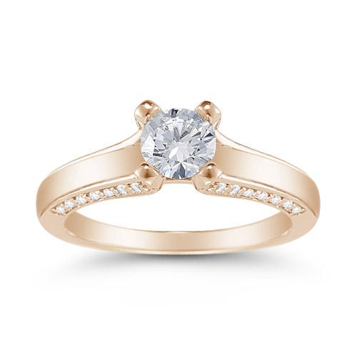 0.75 Carat Diamond Engagement Ring in 14K Rose Gold