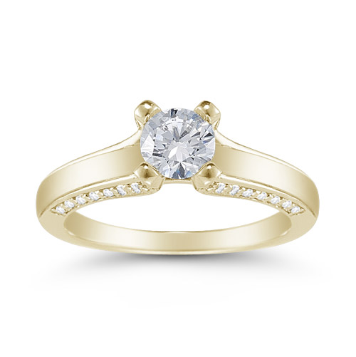 0.80 Carat Art Nouveau Diamond Engagement Ring in 14K Yellow Gold