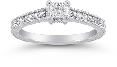 Princess Cut Vintage Floral Diamond Engagement Ring