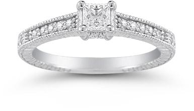 Princess Cut Vintage Floral Diamond Engagement Ring