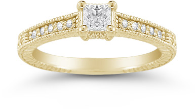 Princess Cut Vintage Floral Diamond Engagement Ring in 14K Yellow Gold