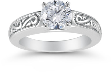 1 Carat Art Deco Swirl Engagement Ring