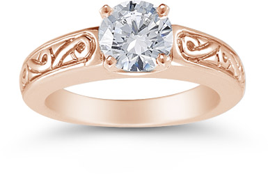 1 Carat Art Deco Swirl Engagement Ring, 14K Rose Gold