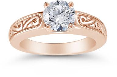 1 Carat Art Deco Swirl Engagement Ring, 14K Rose Gold