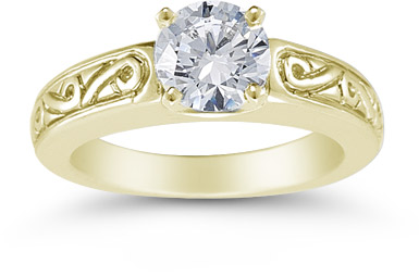 1 Carat Art Deco Swirl Engagement Ring, 14K Yellow Gold