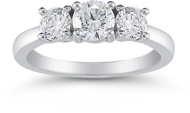 1 Carat Three Stone Diamond Ring in 14K White Gold