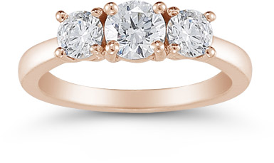 1 Carat Three Stone Diamond Ring, 14K Rose Gold