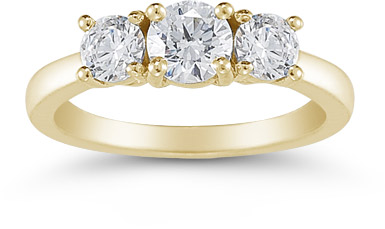 1 Carat Three Stone Diamond Ring, 14K Yellow Gold