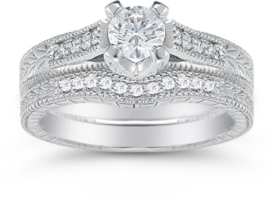 0.93 Carat Victorian Diamond Engagement Set
