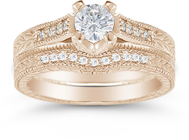 1 Carat Victorian Diamond Engagement Set, 14K Rose Gold