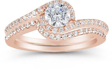 14k Rose Gold 1 Carat Diamond Swirl Engagement Set