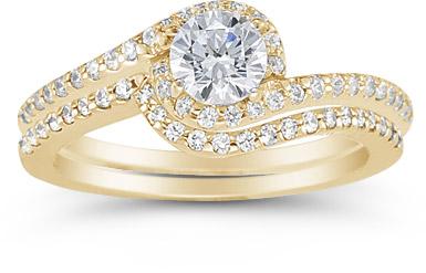 14K Yellow Gold 0.95 Carat Diamond Swirl Engagement Set