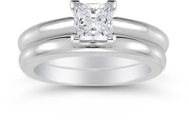 0.75 Carat Princess Cut Diamond Engagement Ring Set
