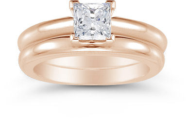 14K Rose Gold 0.75 Carat Princess Cut Diamond Engagement Ring Set