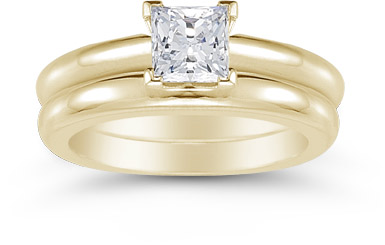14K Yellow Gold 0.75 Carat Princess Cut Diamond Engagement Ring Set