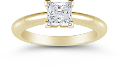 Princess Cut 0.75 Carat Diamond Solitaire Engagement Ring, 14K Yellow Gold