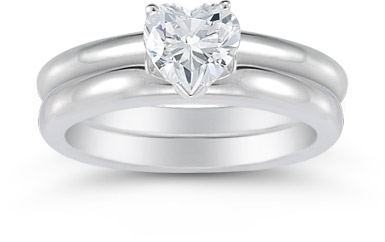 Heart Shaped 0.75 Carat Diamond Solitaire Engagement Set