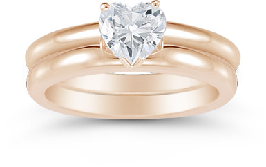 Heart Shaped 0.75 Carat Diamond Solitaire Engagement Set, 14K Rose Gold