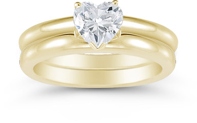 Heart Shaped 0.75 Carat Diamond Solitaire Engagement Set, 14K Yellow Gold