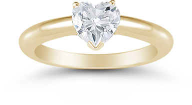 0.75 Carat Heart Diamond Solitaire Engagement Ring, 14K Yellow Gold