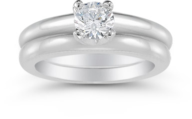 Half Carat Round Diamond Solitaire Engagement Set