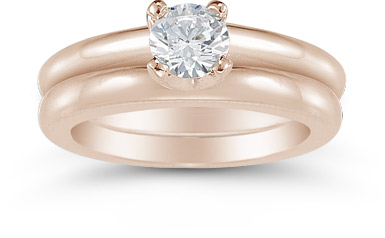 Half Carat Round Diamond Solitaire Engagement Set in 14K Rose Gold