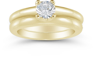 Half Carat Round Diamond Solitaire Engagement Set in 14K Yellow Gold