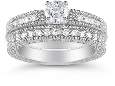 0.98 Carat Art Deco Engagement Ring Set